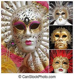 veneciano, carnaval, máscaras, cartel