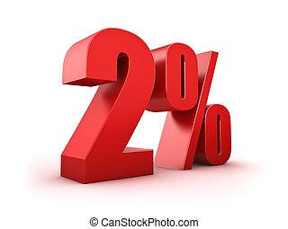 2 percent - 3D Rendering of a two percent symbol