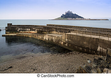St Michael's Mount Bay Marazion harbour wall landscape Cornwall England