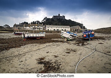 St Michaels Mount harbour Marazion landscape during stormy...
