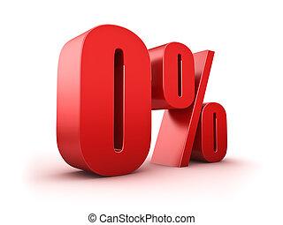 0 percent - 3D Rendering of a null percent symbol