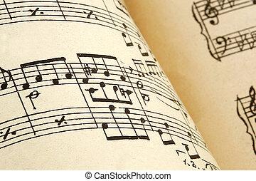 Årgång, papper, gammal, ark, musik