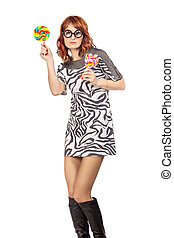 Crazy Woman With Lollipop - crazy woman in funny eyeglasses...