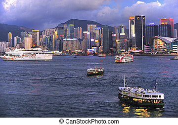 HONG KONG - JULY 4: Victoria Harbor on July 04, 2012 in Hong...