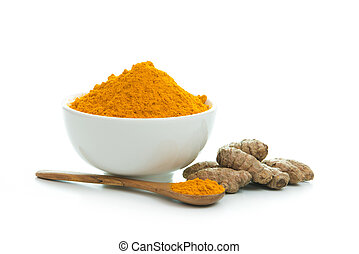 Turmeric  - Bowl of turmeric powder with fresh turmeric root