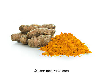 Turmeric - Pile of turmeric powder with fresh turmeric root