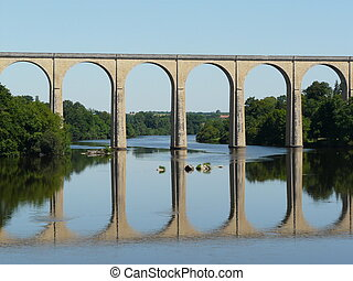 Railway viaduct and reflection - Old railway viaduct and...