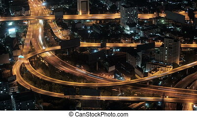 Road interchange in night city. - 1920x1080 hidef, hdv...