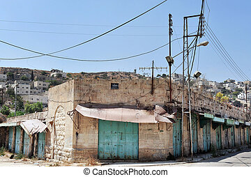Hebron - Israel - HEBRON, ISRAEL - SEP 08:Empty stores in...