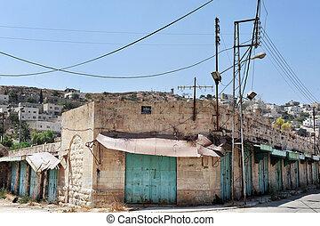 Hebron - Israel - HEBRON, ISRAEL - SEP 08:Empty stores in...