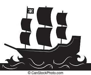 Pirate Ship Silhouette - Pirate ship silhouette with waves...