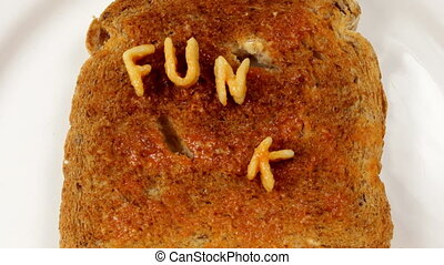 funky food makes me phat written with alphabetti spaghetti...