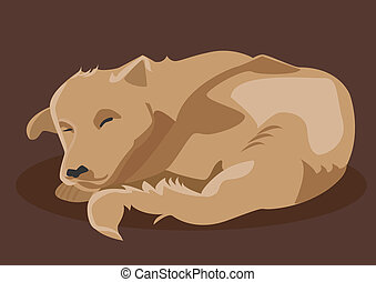 Vector drawing of brown dog sleeping