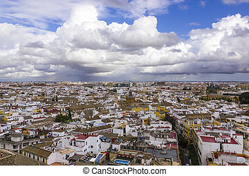 Sevilla - Panoramic view of Seville in cloudy day,Spain