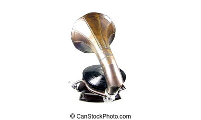 a vintage gramophone moving around
