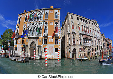 Two picturesque Venetian palace, separated by a narrow...