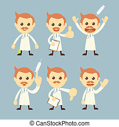 doctor character set cartoon vector