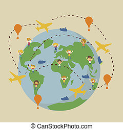vector world travel map with airplanes
