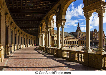 Spanish Square - Hall of Spanish Square in Sevilla, Spain.
