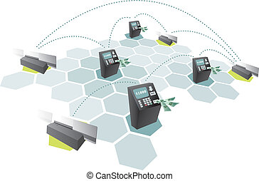 ATM network and credit cards connecting / Consumerism