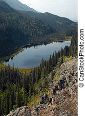 Wrangell-St. Elias Park - View from top of lake and...