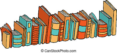 Different standing books Library stack