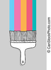 Colorful cartoon paintbrush with copyspace