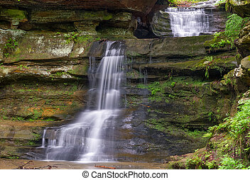 Waterfalls at Old Mans Cave - A waterfall with two plunges...