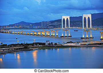 The night scenery of bridge in Macau