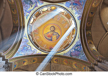 On a ceiling image of the Christ Savior - Facilities in the...
