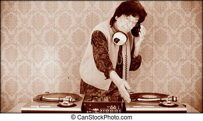 a very funky elderly granny dj go lady with aged film effect...