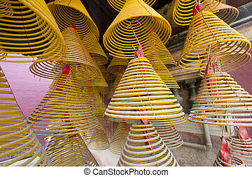 Spiral Chinese prayer joss-sticks in A-ma temple, Macau.