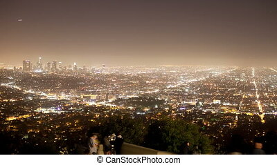 view of los angeles skyline from the griffith observatory at...