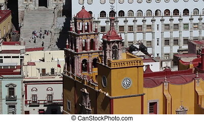 close-up of the iconic yellow church in guanajuato, mexico