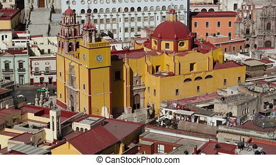 panning timelapse of the beautiful guanajuato city skyline, mexico. this city is interesting as most of the roads are underground in tunnels.