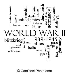 World War II Word Cloud Concept in Black and White - World...