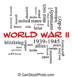World War II Word Cloud Concept in Red Caps - World War II...