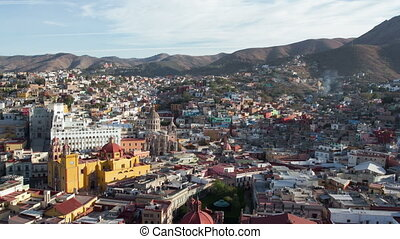 timelapse at dusk of the beautiful guanajuato city skyline,...