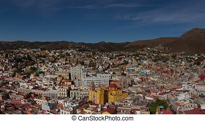 timelapse of the beautiful guanajuato city skyline, mexico. this city is interesting as most of the roads are underground in tunnels.