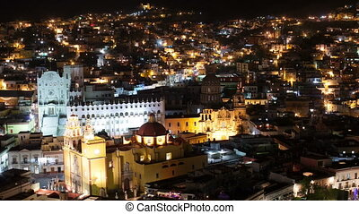 timelapse at night of the beautiful guanajuato city skyline,...