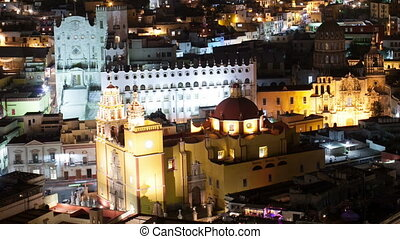 timelapse at night of the beautiful guanajuato city skyline, mexico. this city is interesting as most of the roads are underground in tunnels.