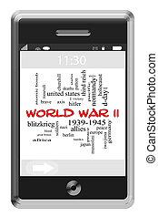 World War II Word Cloud Concept on Touchscreen Phone - World...