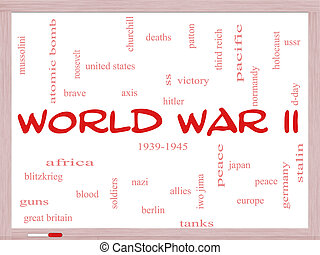 World War II Word Cloud Concept on a Whiteboard with great...