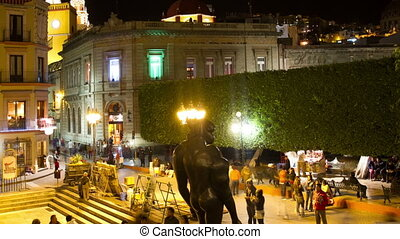 timelapse at night in the zocalo (main square) in the...