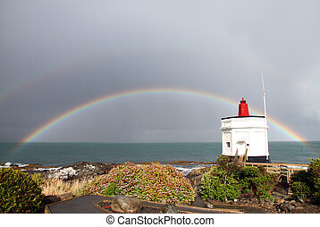 Stirling Point Rainbow - A rainbow behind Stirling Point...
