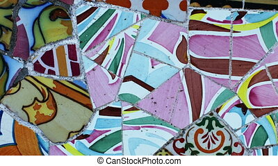 abstract clip made from images of ceramic tiles in the gaudi designed parc guell, barcelona, spain