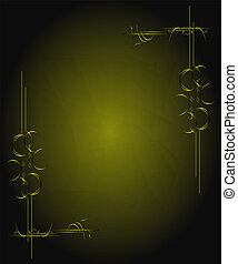 Green background with gold ribbon and old vintage grunge background texture elegant green wallpaper