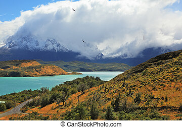 The snowy peaks Los Cuernos - Cold summer in Chile The...