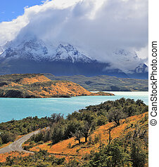Cold summer in Chile The National Park Torres del Paine -...