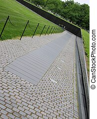 vietnam wall memorial - an angle view of the vietnam wall...